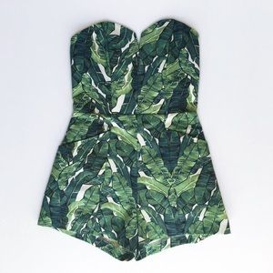 H&M Strapless Palm Leaf Romper *FITS LIKE 2/4